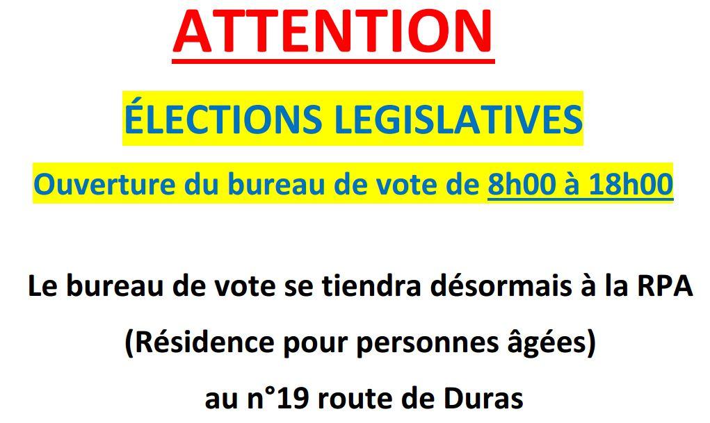 Elections l gislatives attention du changement commune de pellegrue - Changement bureau de vote ...