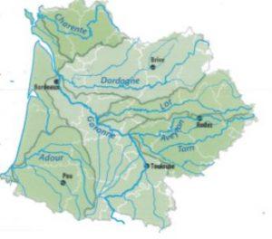 Information de l'agence de l'eau : la carte du bassin Adour-Garonne