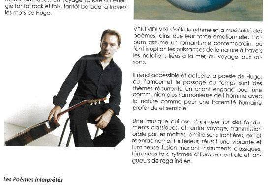 VENDREDI 6 SEPTEMBRE  19 h Les poèmes de Victor Hugo en musique à Pellegrue