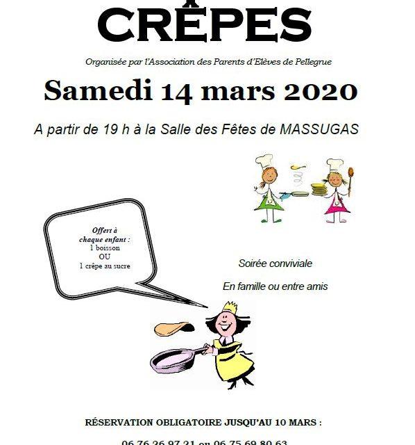 Soirée crêpes de l'APE le 14 mars 2020