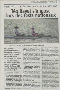 Téo Rayet de Pellegrue classé pour les mondiaux d'aviron.